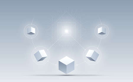 Abstract connection cubes background. Science and technology. Big data and Internet connection. Vector illustration.