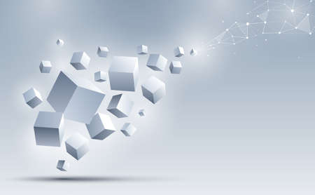 A group of 3d cubes floating to connect with an abstract geometric polygonal. Science and technology background. Big data and Internet connection. Abstract background. Vector illustration.