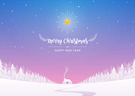 Merry Christmas and Happy New Year inscription decorated with a snow hut, and snowflakes on the winter background. Vector illustration.