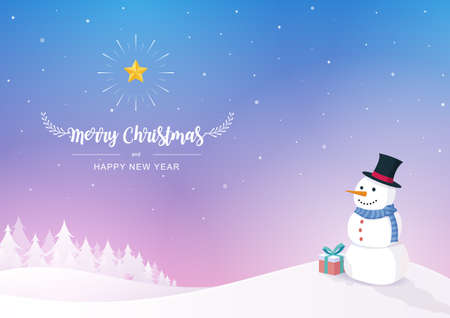 Merry Christmas and Happy New Year inscription decorated with a snowman, snowflakes, and gift box on the winter background. Vector illustration.