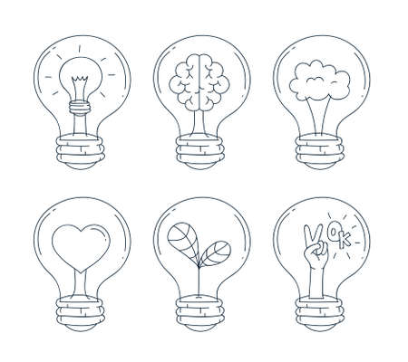 Lightbulb icon set. Hand draw and doodle line style. Vector illustration Standard-Bild - 117254064