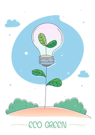 Eco Green energy concept. Little tree growing out of inside a lightbulb. Vector illustration Standard-Bild - 117254066