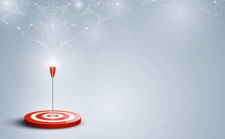 Objetivo con flecha. Objetivos golpeados en el centro por una flecha con fondo abstracto. Objetivo del concepto de negocio y marketing. Ilustración vectorial Ilustración de vector