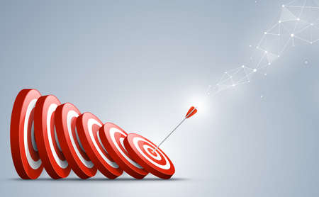 Target with arrow. Arrow hit a target like a falling dominoes. Concept of Domino effect. Vector illustration.