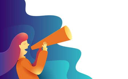 Vrouwen maken een aankondiging in een papieren trompet. Advertentie Promo Marketing Concept. Creatief plat ontwerp voor webbanner en online reclame. Vector illustratie.