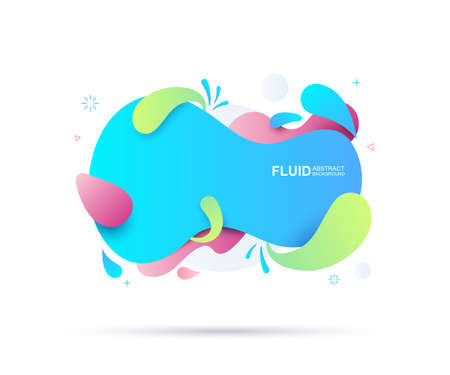 Abstract fluid and modern elements. Dynamical colored forms and line. Fluid colorful gradient organic shapes. Isolate on white background. Vector illustration