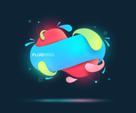 Abstract fluid and modern elements. Dynamical colored forms and line. Fluid colorful gradient organic shapes. Isolate on dark blue background. Vector illustration