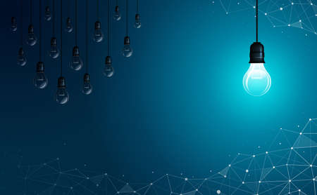 The bright light bulb is opposite to the other one that is off. Abstract background. Geometric polygonal background. Idea, business, science and technology concept. Vector illustration.