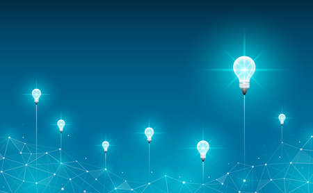 Light bulbs launch on abstract background. Geometric polygonal background. Idea, business, science and technology concept. Vector illustration.