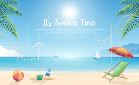 Summertime background. Tropical beach with beach elements vector background. Background of the sea with the ship and windmill. Summer Concept. Vector Illustrator. Standard-Bild - 131929901