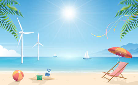 Summertime background. Tropical beach with beach elements vector background. Background of the sea with the ship and windmill. Summer Concept. Vector Illustrator. Illustration