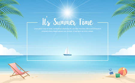 Summertime background. Tropical beach with beach elements vector background. Background of the sea with the ship. Summer Concept. Vector Illustrator.