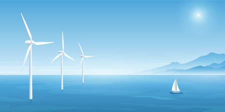 Windmill farm green energy in the ocean, eco-energy concept backgrounds. Wind power technology. Vector illustration.