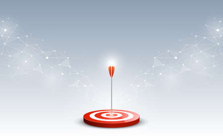 Target with arrow. Targets hit in the center by an arrow with abstract background. Concept target of business and marketing. Vector illustration 일러스트