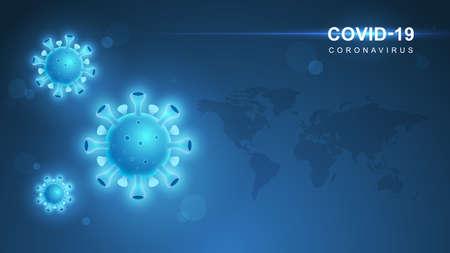 Coronavirus COVID-19. Coronavirus outbreak and coronaviruses influenza background. COVID-19 Virus. Virus attack on earth. Vector Illustration. Standard-Bild - 143374740