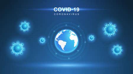 Coronavirus COVID-19. Coronavirus outbreak and coronaviruses influenza background. COVID-19 Virus. Virus attack on earth. Vector Illustration. Illustration