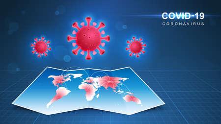 Coronavirus COVID-19. Coronavirus pandemic and coronaviruses influenza background. Vector Illustration.