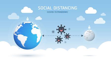 Social distancing, keep distance in public society people to protect from COVID-19 coronavirus pandemic spreading the concept. Vector Illustration. Standard-Bild - 144133883