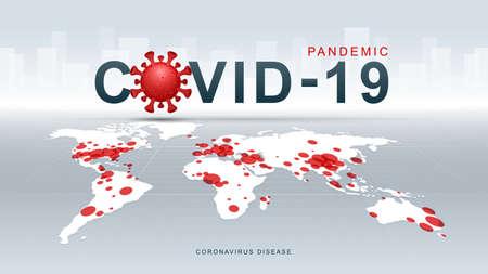 Coronavirus COVID-19. Coronavirus disease Pandemic on map. COVID-19 Virus background. Virus attack on earth. Vector Illustration.
