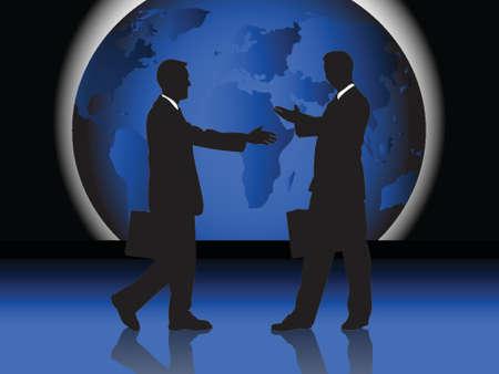 2 men handshaking in front of world map, vector drawing Ilustração