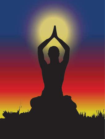 woman doing yoga, natural environment, spiritual