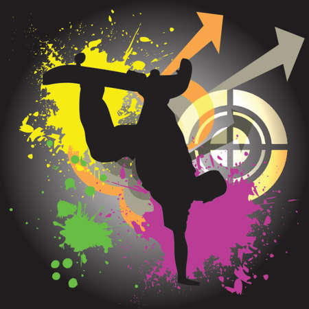 silhouette of a skateboarder on a funky colorful background