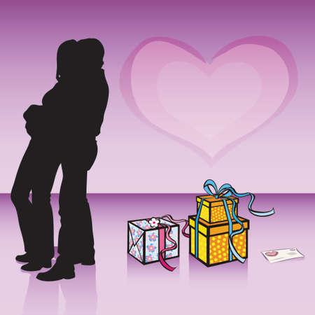 VALENTINE COUPLE HUGGING Illusztráció