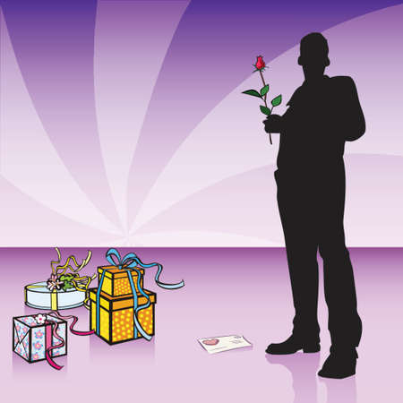 silhouette of a guy standing beside gift boxes, valentines day