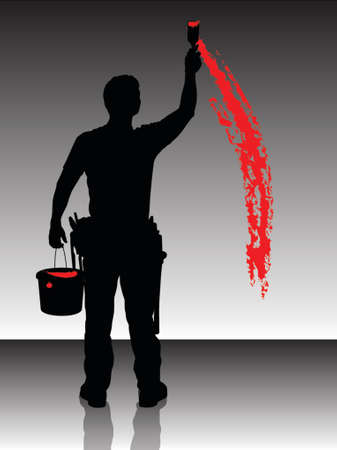 Silhouet van een schilder schilderen van de muur met rode Vector Illustratie
