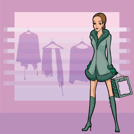 one young woman shopping for clothes, newyear shopping