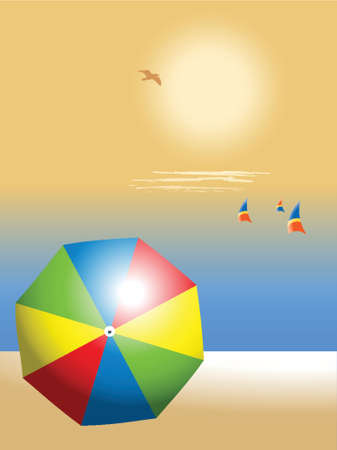 beach with colorful umbrella and sailing boats, holiday concept