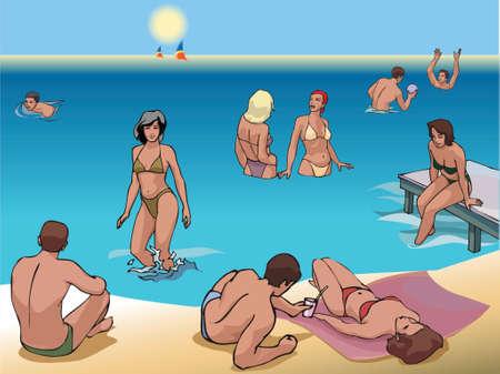beautiful beach full of people tanning, swimming and having fun