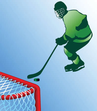 hockey player trying to score infront of the net