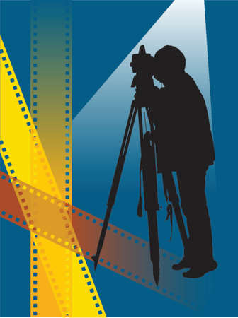 silhouette of a photographer on film strips