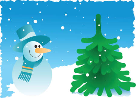 snowman with pine tree on a snowy background