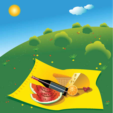 picnic scene with yellow blanket, cheese, vine, bread and watermelons