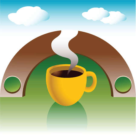 hot fresh coffee on an illustrated background, blue sky Vector