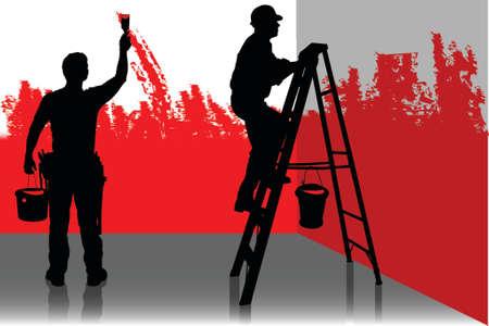 Twee schilder schilderij een kamer in rode kleur, de mensen op het werk Vector Illustratie