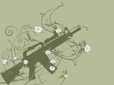 Silhouette of a gun on flower vines, peace concept