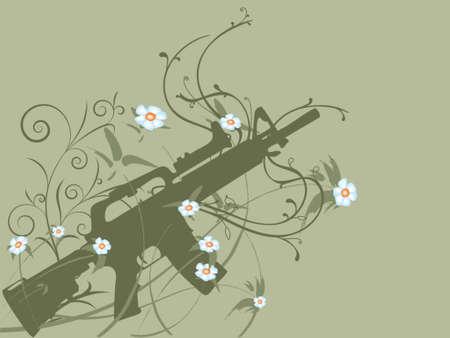 Silhouette of a gun on flower vines, peace concept Stock fotó - 709352