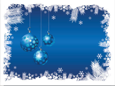Three christmas ornaments hanging from snowy frame