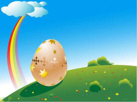 녹색 필드에 큰 부활절 달걀, 푸른 하늘 위에 무지개 일러스트