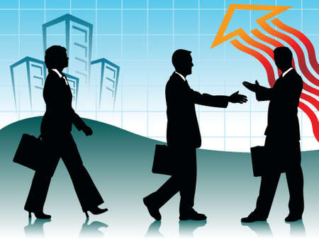 two businessman handshaking and one businesswoman walking infront of business scene Vectores