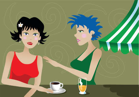 Two modern women sitting in a cafe, drinking coffee and beer