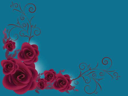 stelletje paarse rozen over donkerblauwe achtergrond Stock Illustratie