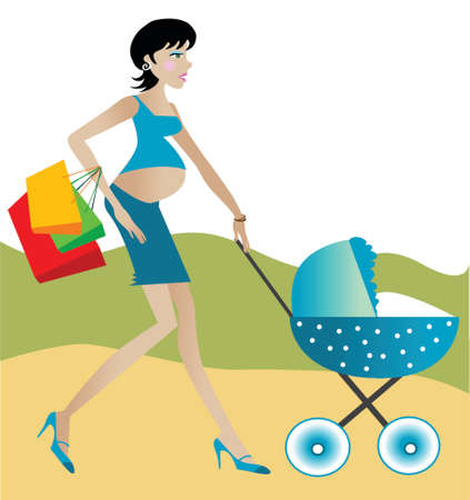Pregnant woman with shopping bags pushing a  carriage