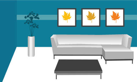 illustration of a contemporary modern style room 版權商用圖片 - 732330