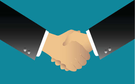 illustration of two businessmen handshaking over blue background