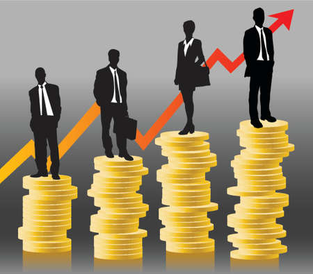 businessteam standing on coins in front of successful chart Stok Fotoğraf - 738972