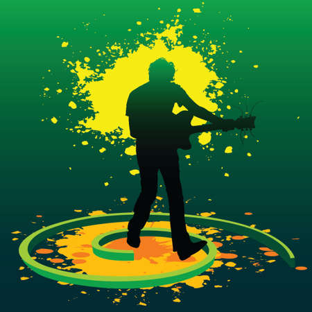 silhouette of a guitarist playing guitar in splashed paints